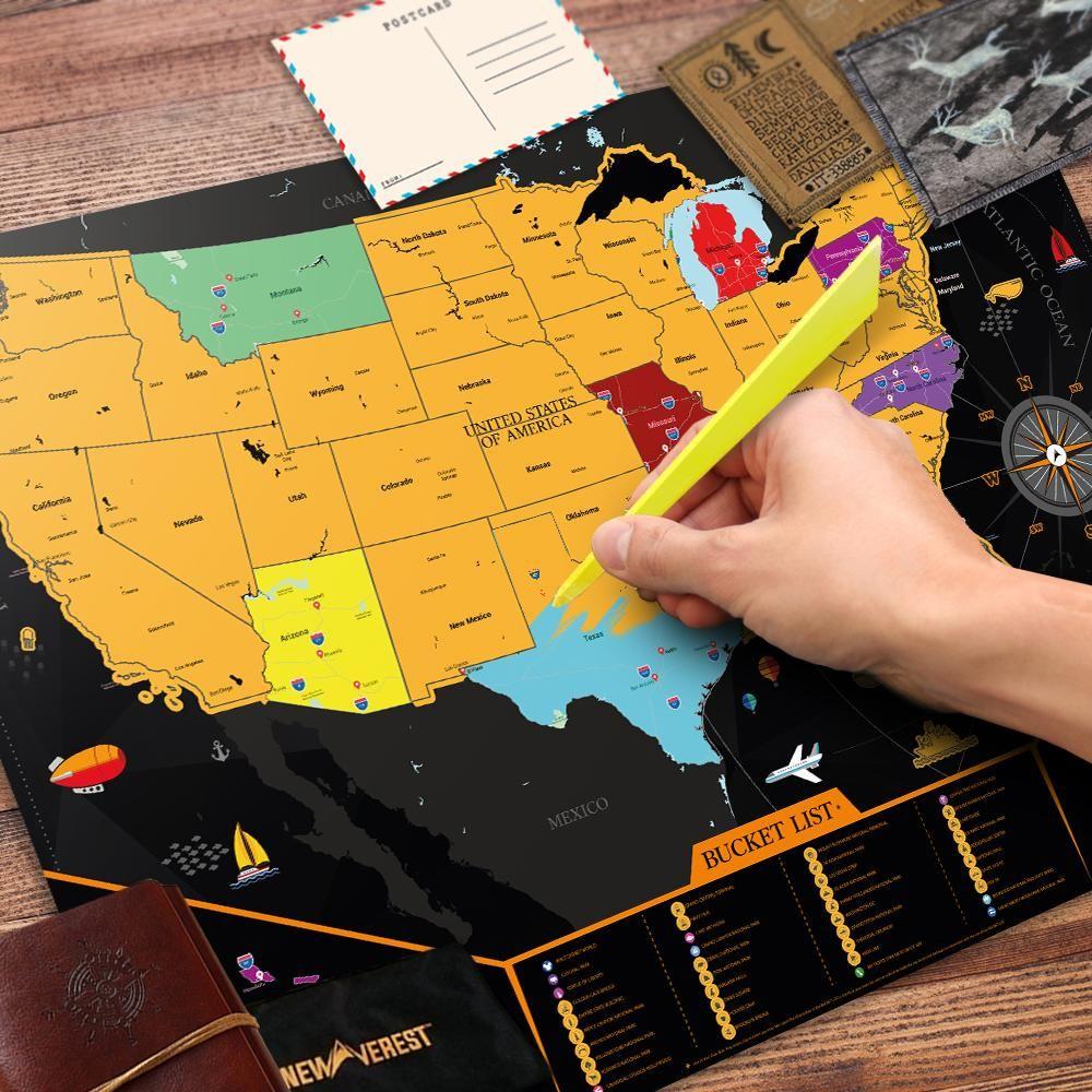 Scratch Off USA Map in 2019 | Ideas | United states map, Scratch off ...