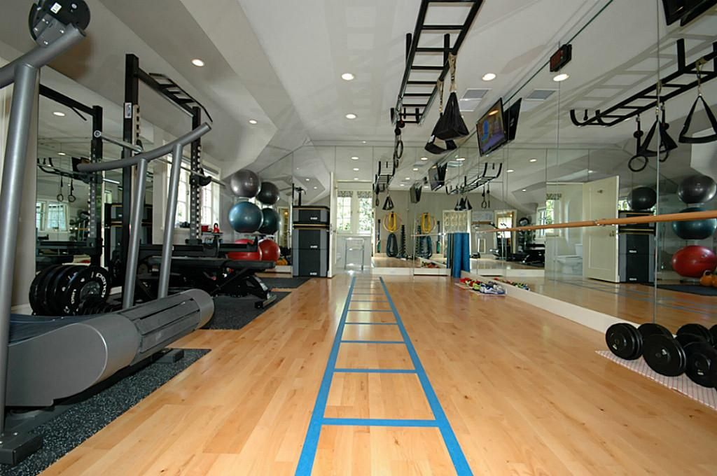 Totally remodeled exercise room on second floor has beech