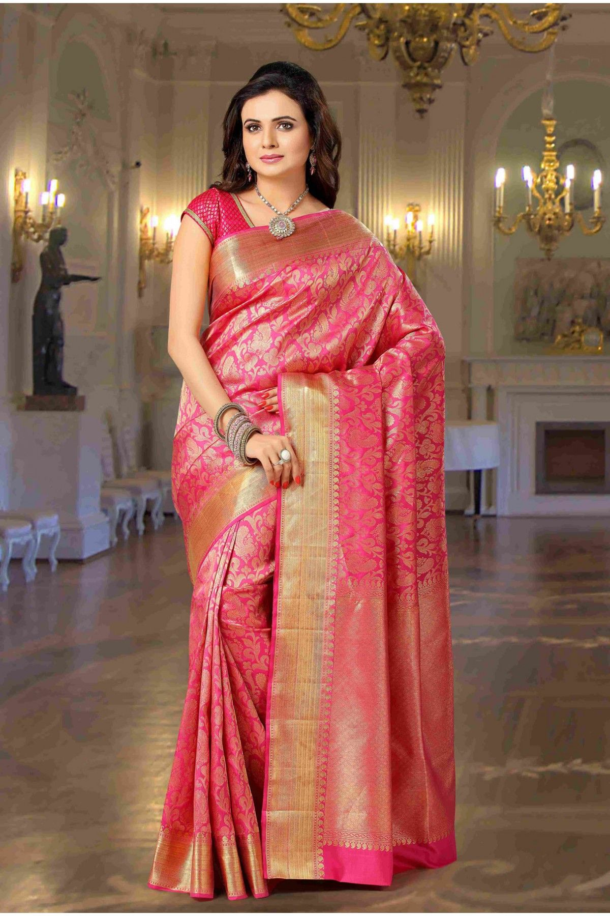 ea73894ecf Pure silk pink exquisite saree with lotus pink & gold border -SR10333 - Pure  Kanchipuram Tested Zari