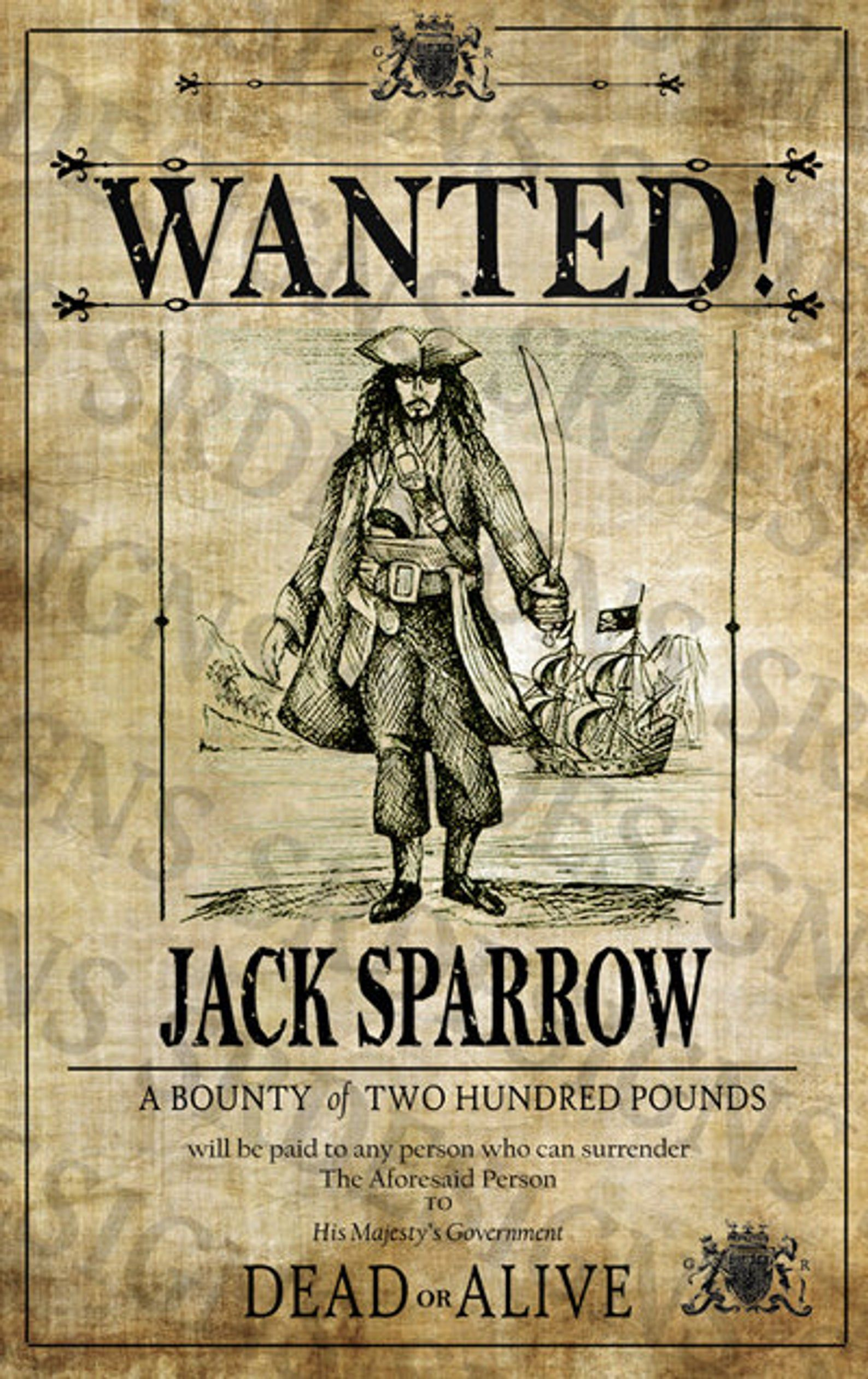4 Pirate Wanted Signs Blackbeard One Eyed Jack Bonny Draque Birthday Party Event