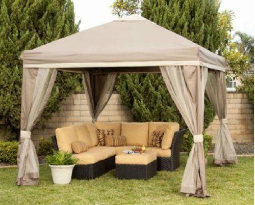 10 X 10 Pitched Roof Line Portable Patio Gazebo Netting 249 00 The 10 X10 Pitched Roof Line Portable Patio Gazebo Fe Patio Gazebo Gazebo Outdoor Gazebos