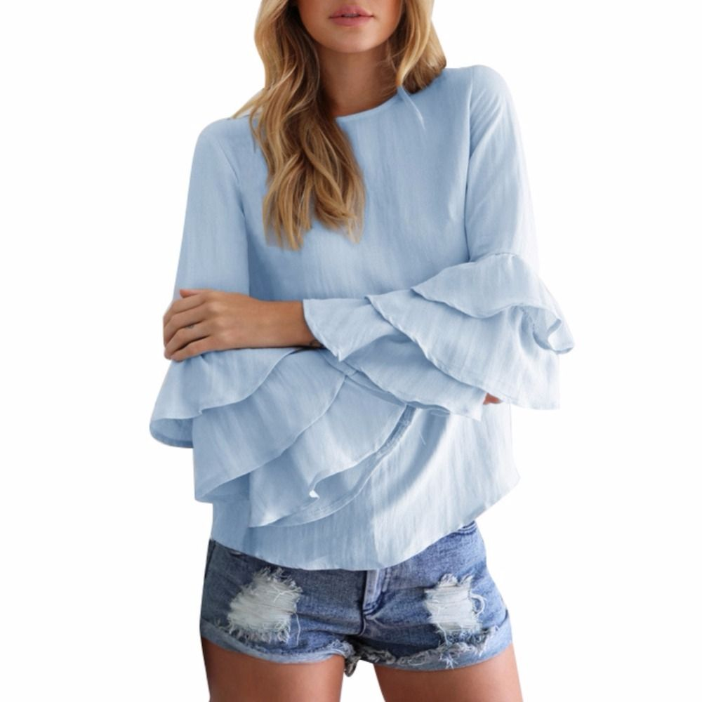 elegant ruffles blouse shirt women tops long sleeve office