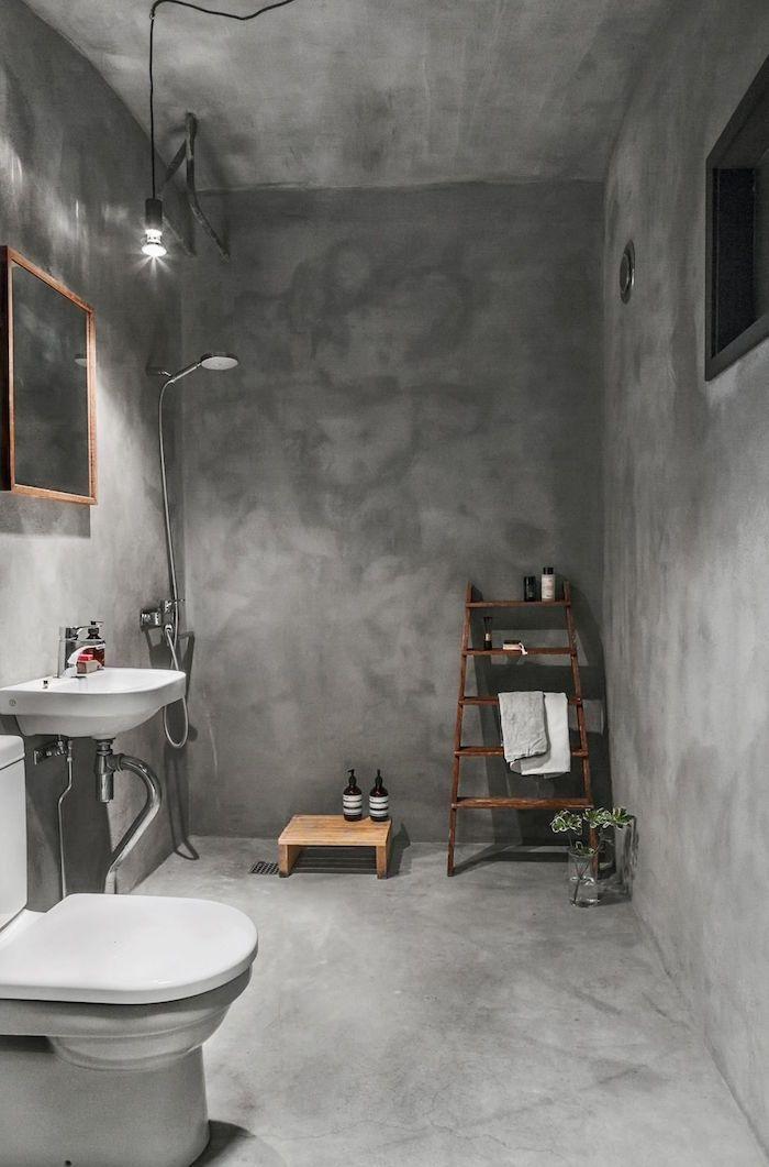 Salle de bain en béton ciré \u2013 brut de paume
