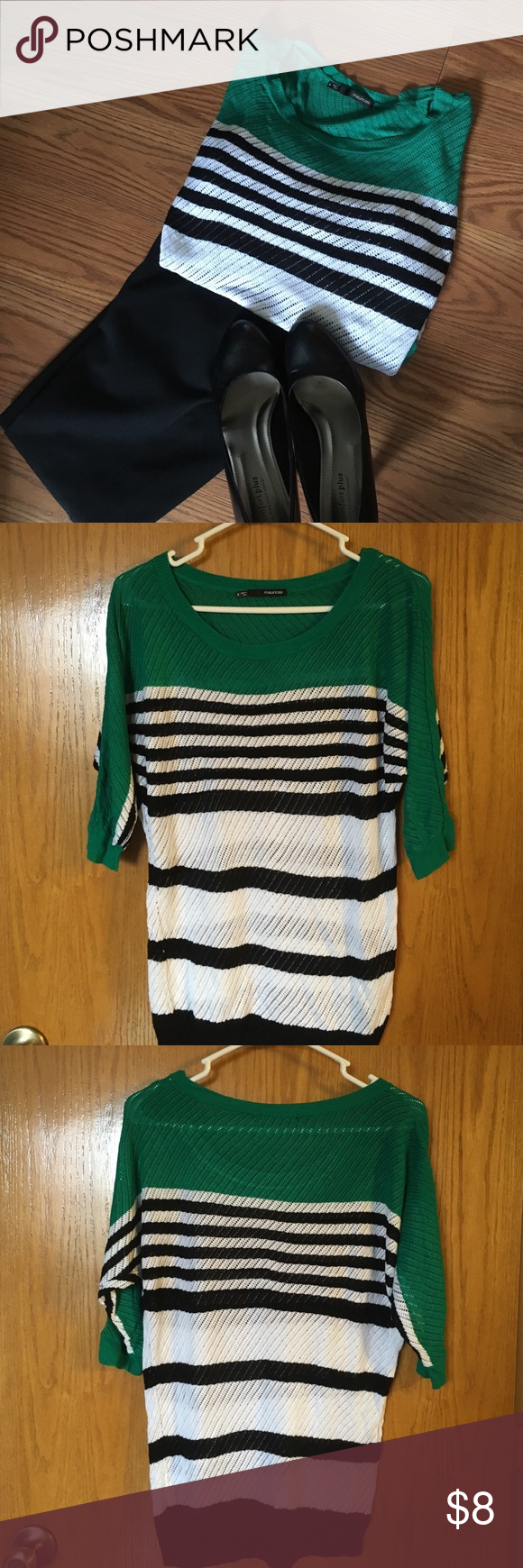 Maurice's turquoise, black, & white stripe sweater Maurice's size small turquoise, black, and white striped sweater. Lightweight, drape fit. Pants and heels not for sale. Maurices Sweaters Crew & Scoop Necks