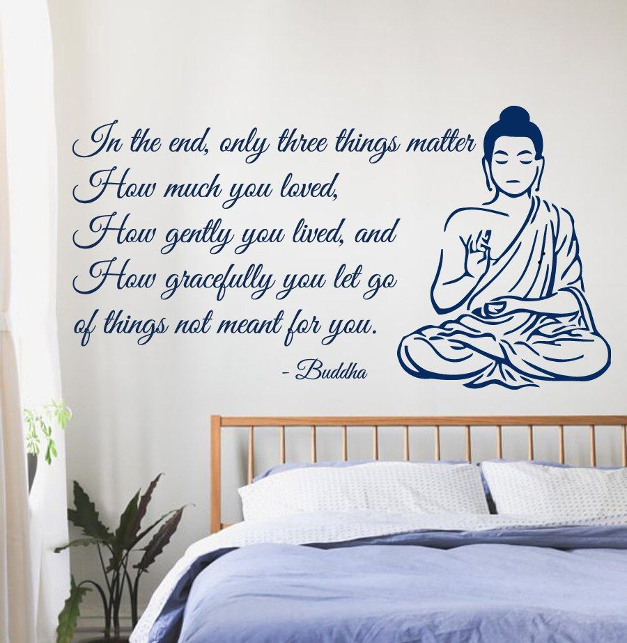 buddha wall decals quote only three things matter yoga gym decor wall sticker