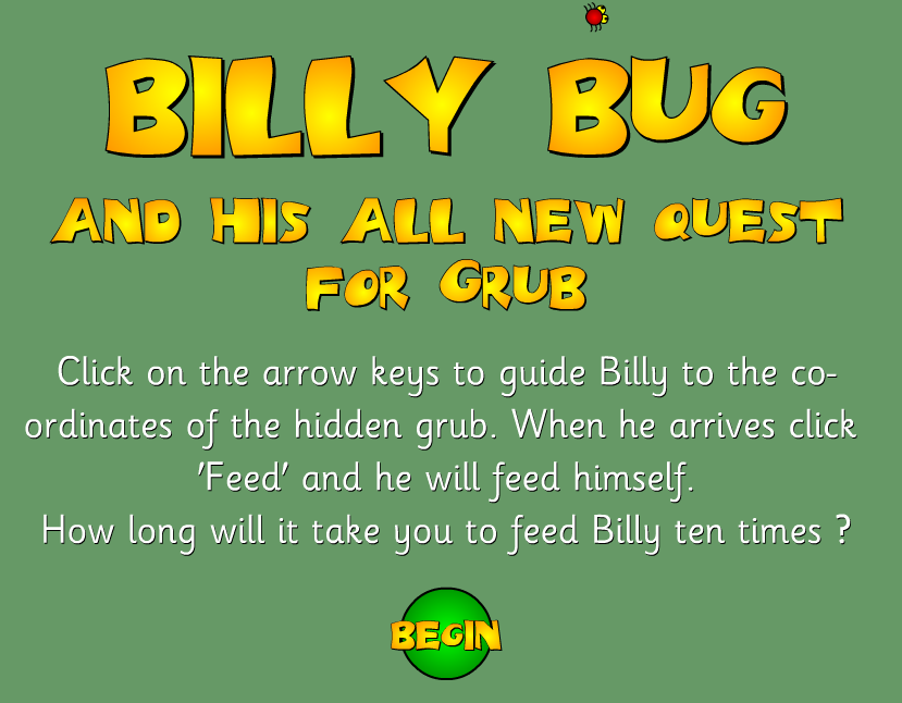 Billy Bug coordinates game. A whole range of interactive maths games ...