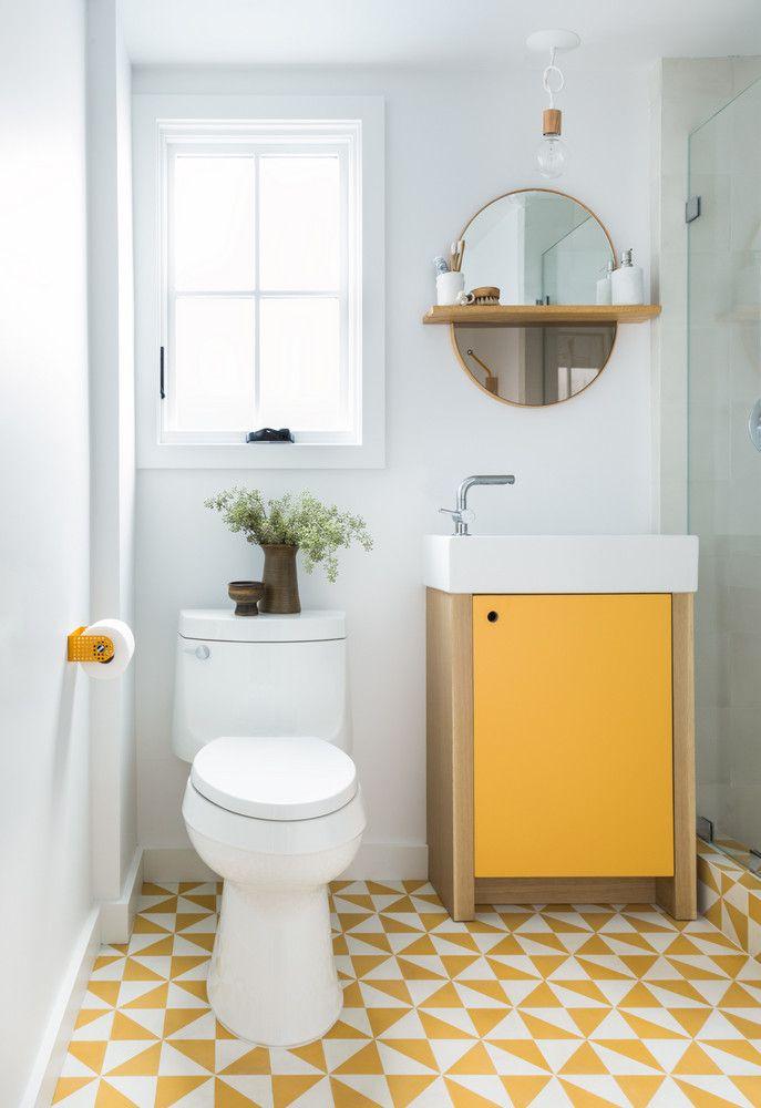 Graphic Yellow Bathroom Floor Tiles