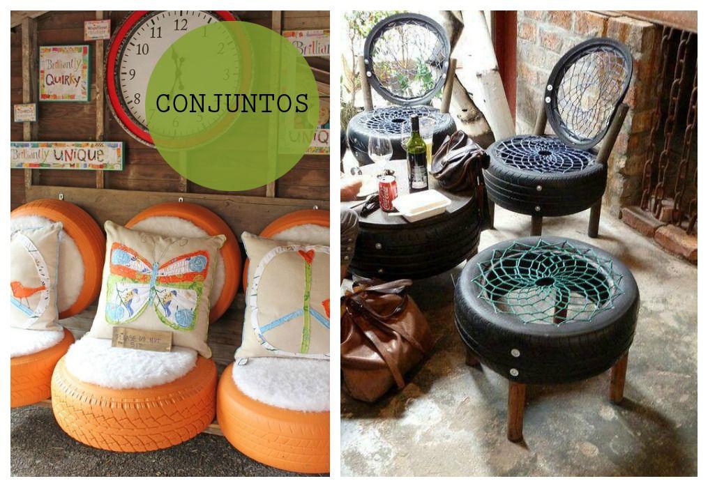 Puf neum tico neumaticos muebles con material reciclado - Reciclar muebles usados ...