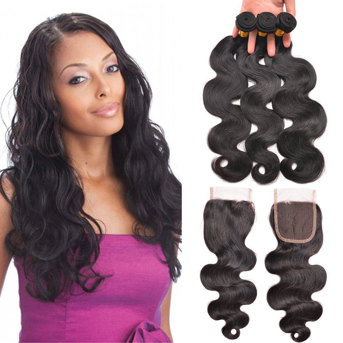 Peruvian Bundle Hair 10 12 14 Inch Body Wave Peruvian Hair 3 Bundles With 8inch 4x4 Free Part Lace Closure Peruvian Hair Hair Extensions Human Hair Extensions