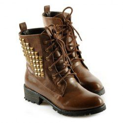 $32.53 Fashion Style Women's Pretty Combat Boots With Rivets and PU Leather Design