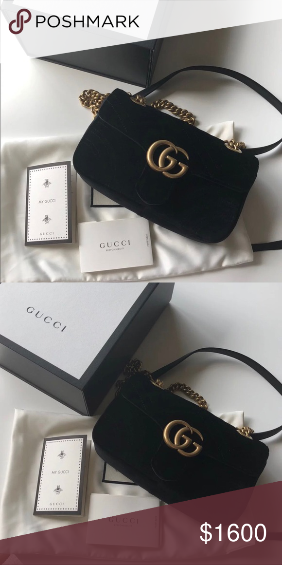 14f7a5325 Brand New! Gucci Marmont Velvet Mini Comes with box, dust bag, tags, receipt.  PRICE IS FIRM. Poshmark will authenticate the bag prior to shipping it to  you.