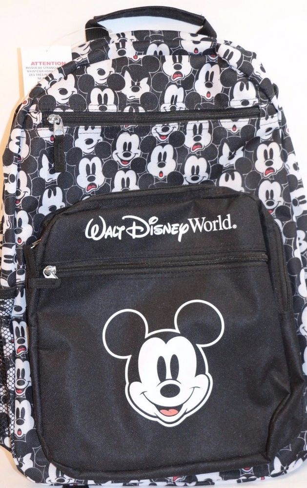 d019282ba01 NEW Mickey Mouse Comic Faces Large Backpack Walt Disney World Parks Black  White  WaltDisneyWorldParks