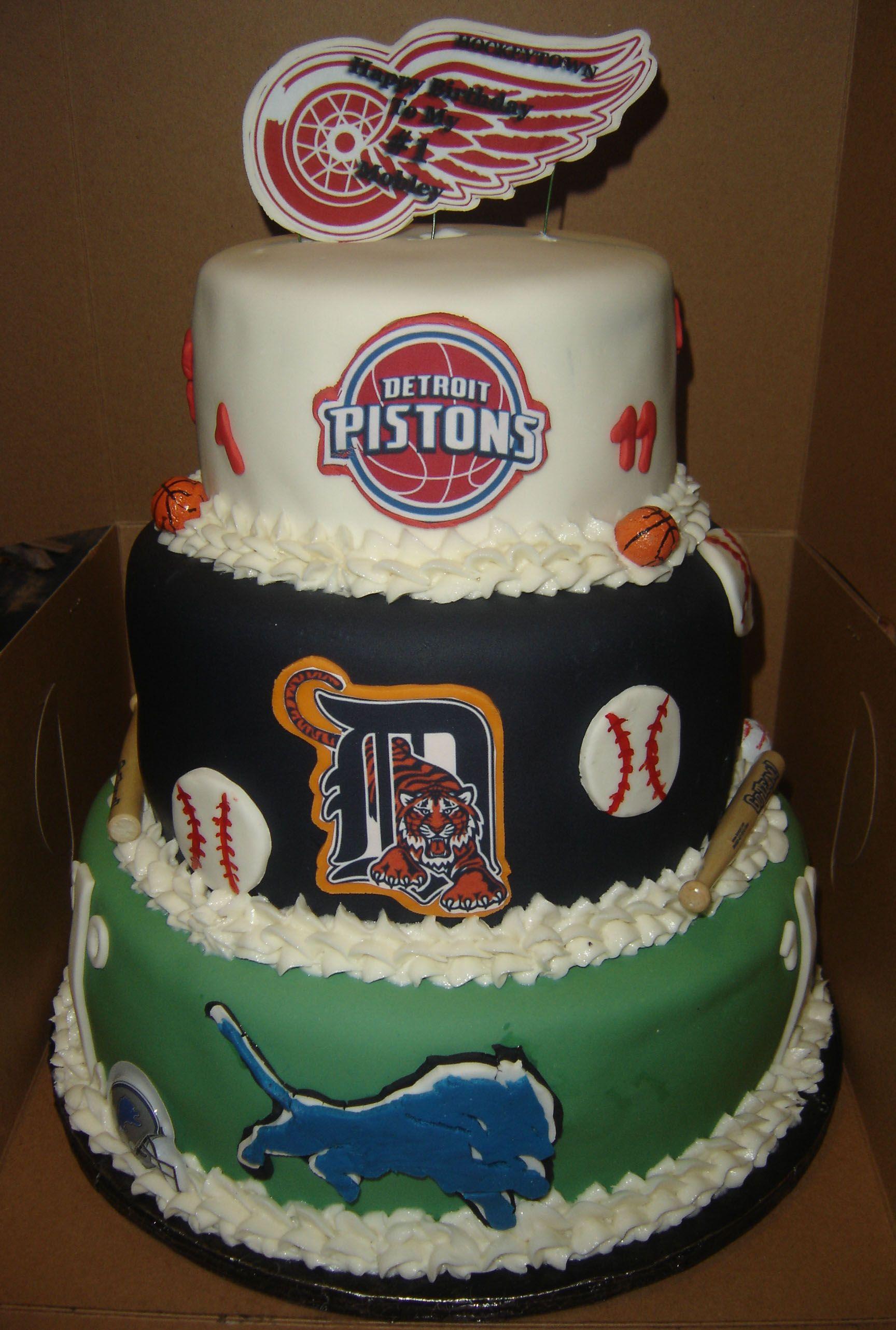 3 Tier Detroit Sport Teams Themed Birthday Cake 6 Top