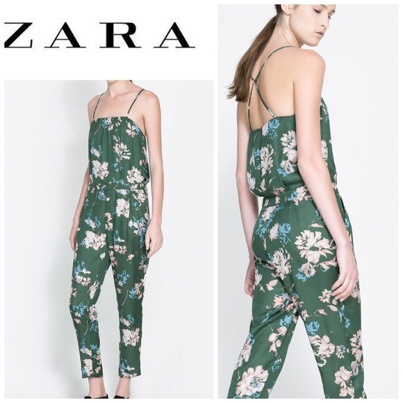 6a830149 New ZARA JUMPSUIT Zara floral silky jumpsuit. Features thin straps. This  piece will get you so many compliments! Perfect to layer or wear alone NWT !!!