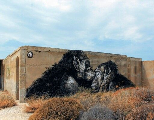 """Unconditional Love"" Street art on Naxos island, Greece, by WD street art. Photo by WD street art."
