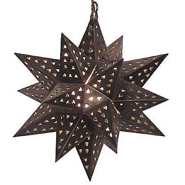 Extra Large Aged Tin Star Light Fixture