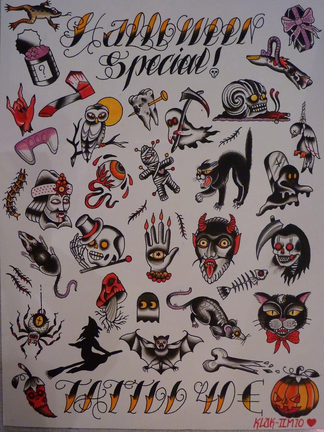 Traditional Halloween Tattoo Flash Halloween tattoo