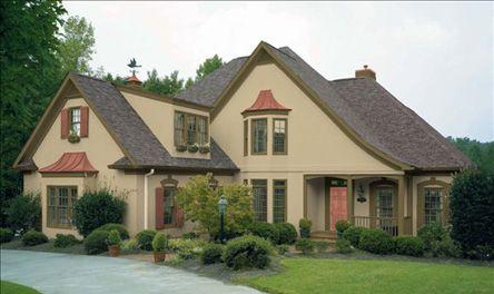 Exterior color scheme for tudor valspar colors from lowe 39 s shown in oakmoss trim summer 39 s end for Lowes exterior paint color schemes