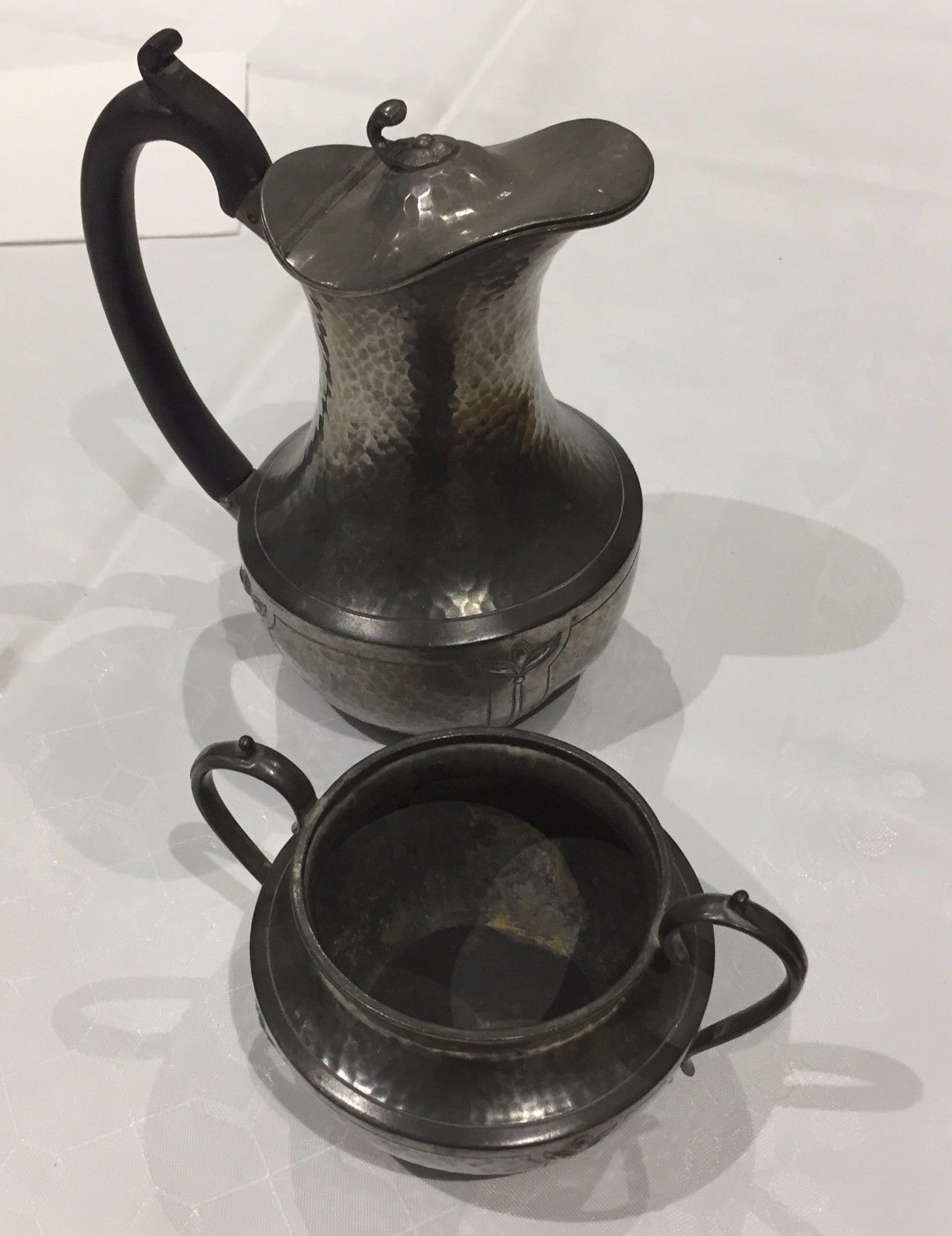 Arts & crafts pewter jug and #bowl, #hammered, #premier pewter,  View more on the LINK: http://www.zeppy.io/product/gb/2/272513798625/