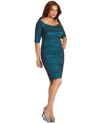 Alex Evenings Plus Size Dress Elbow Sleeve Beaded Cocktail Dress