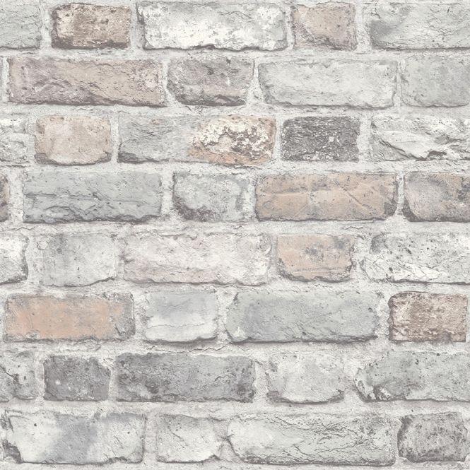 Battersea Brick Wall Effect wallpaper in pastel