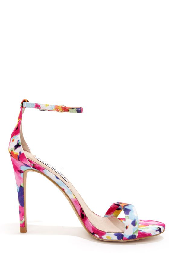 28a1511b894 Steve Madden Stecy Floral Print Ankle Strap Heels at LuLus.com!
