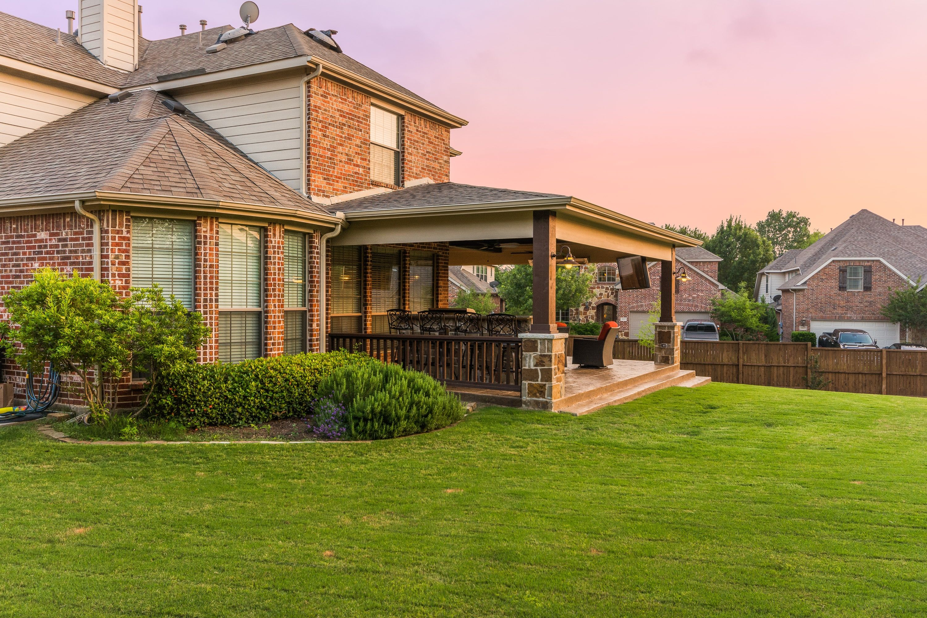 Hip roof patio cover attached to the house with small ... on Attached Outdoor Living Spaces id=84715