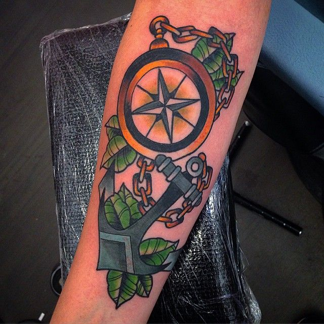 Color Tattoo By Matt From Black Sails Tattoo: Compass And Anchor Tattoo, Seattle Tattoo, Compass Tattoo