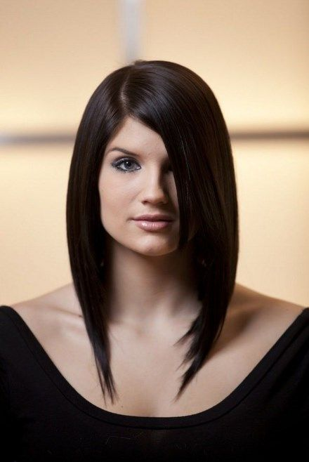 Best Long Angled Bob Layered Hairstyles Side Parted For Round Faces Women With Straight Ha Long Bob Hairstyles Side Bangs Hairstyles Long Angled Bob Hairstyles