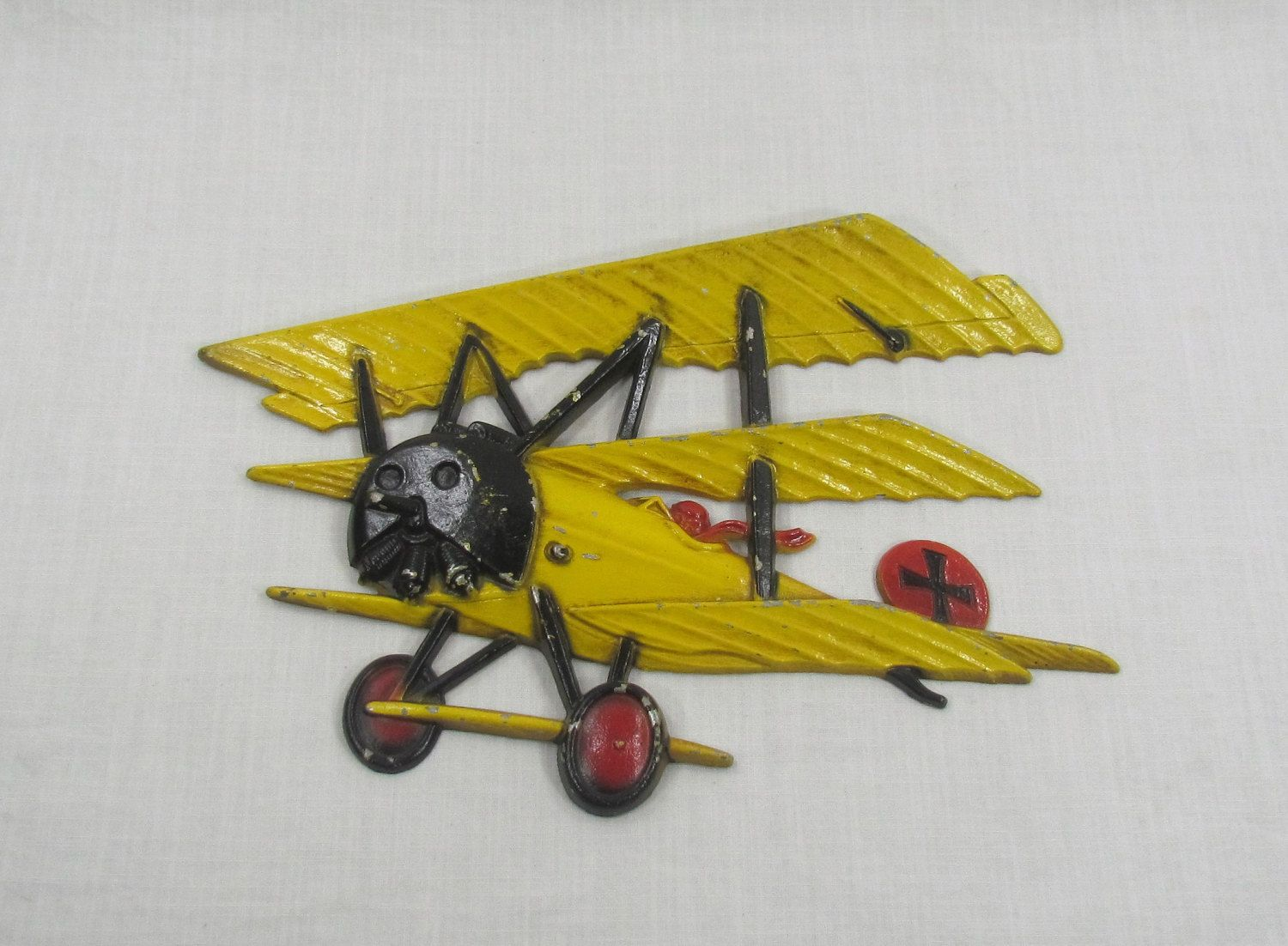 Homco Die Cast Metal Wall Art Hanging Yellow Bi-plane WWI 1232 BX B ...
