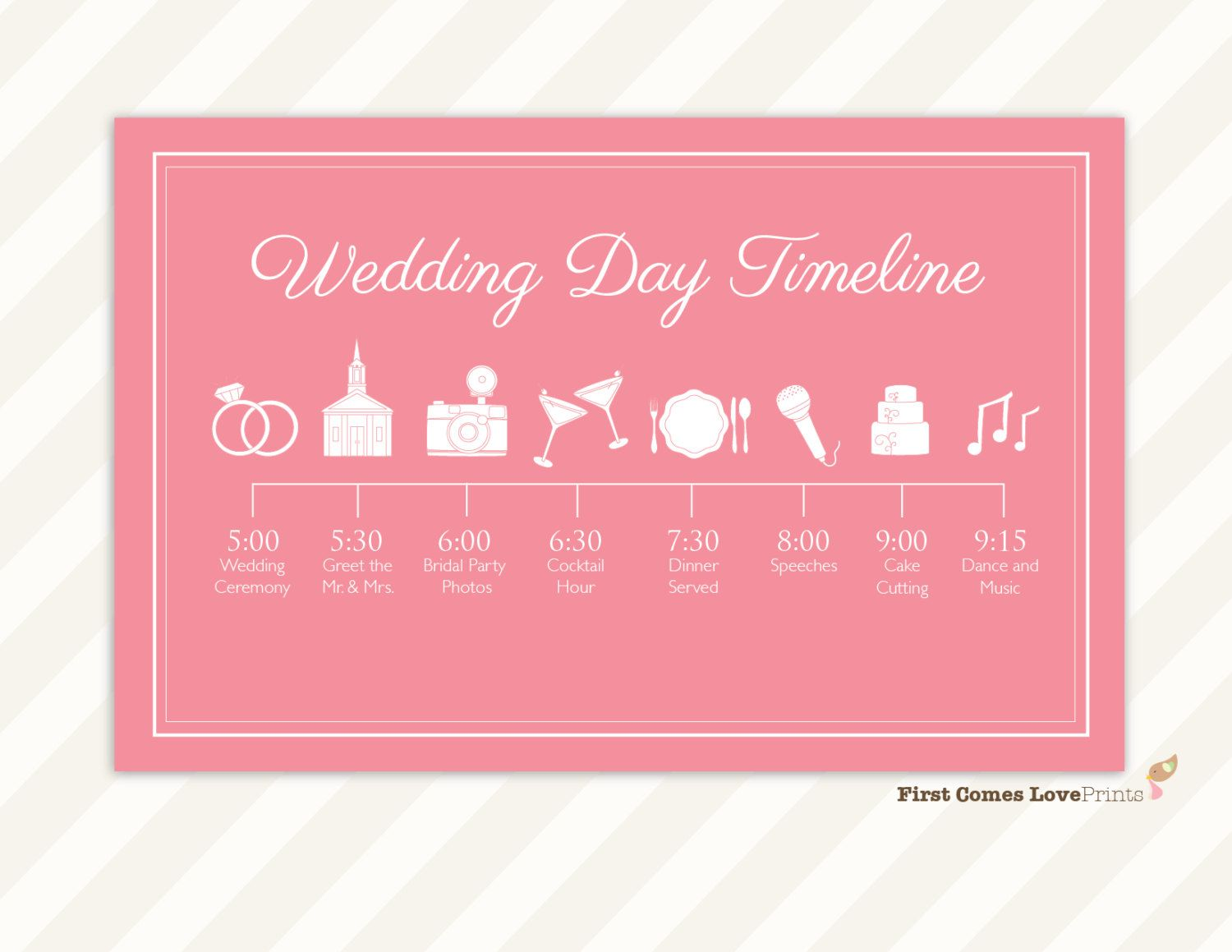 Wedding Day Schedule of Events ~ Itinerary for Guests ~ Big Day ...