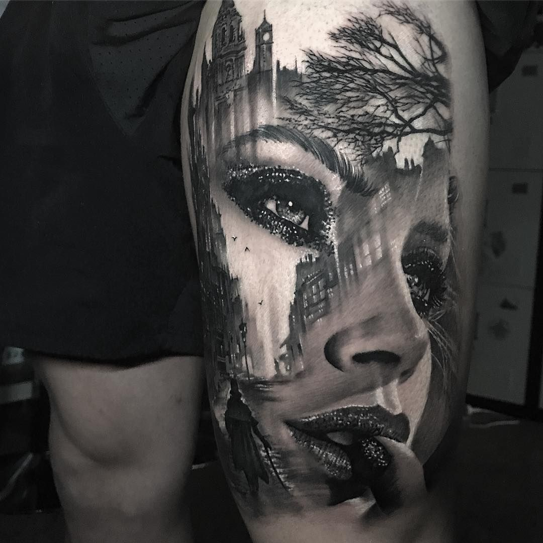 Awesome black and grey tattoo art of morphing girl face