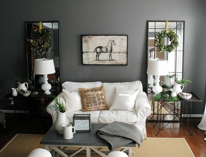 Wohnideen Wohnzimmer Wnde Grau Sisalteppich Spiegel Pflanzen