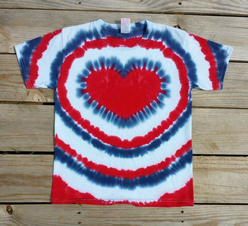 e84db405bc31a Girls 4th of July Heart Tie Dye T-Shirt, XS S M L XL, Patriotic, Red ...