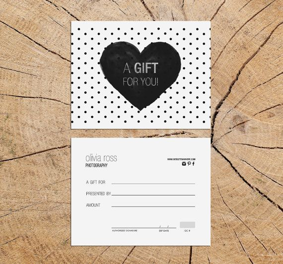 Black Heart Double Sided Gift Certificate Template Instant - Diy christmas gift certificate template