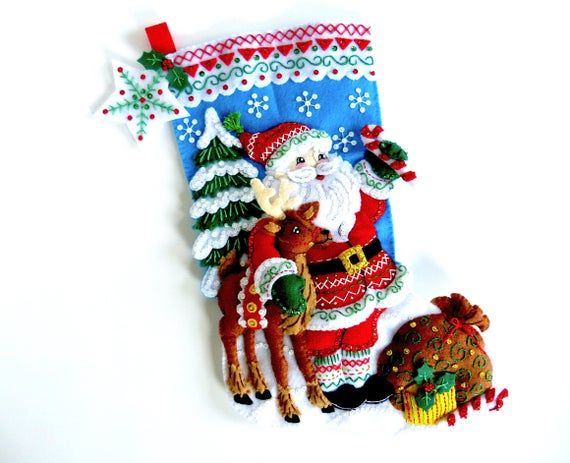 Nordic Santa Claus and Reindeer 18 Felt Christmas Stocking Hand made from Bucilla Kit
