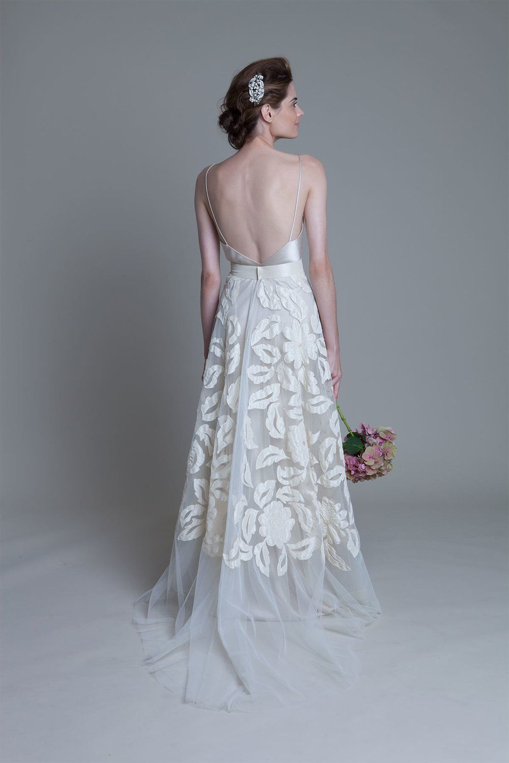 Back view of the Susie hand applique tulle skirt with iris backless ...