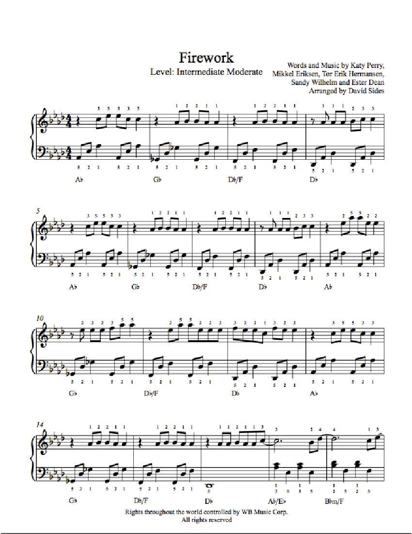 Firework By Katy Perry Piano Sheet Music Intermediate Level