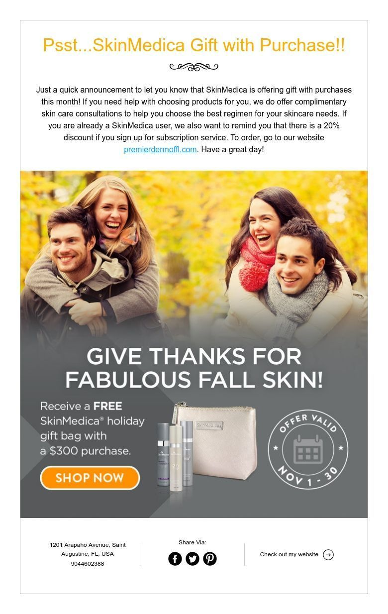 Psst...SkinMedica Gift with Purchase!! Skin care, Gifts
