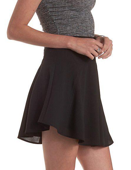 Paneled High-Waisted Skater Skirt: Charlotte Russe