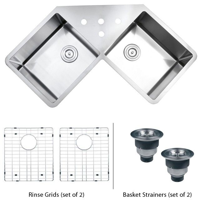 43 Inch Stainless Steel Undermount Butterly Corner Double Bowl Kitchen Sink With Free Accessories Corner Sink Kitchen Double Bowl Undermount Kitchen Sink Double Bowl Kitchen Sink