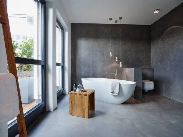 salle de bain tendance avec du bton cir et des suspensions design http