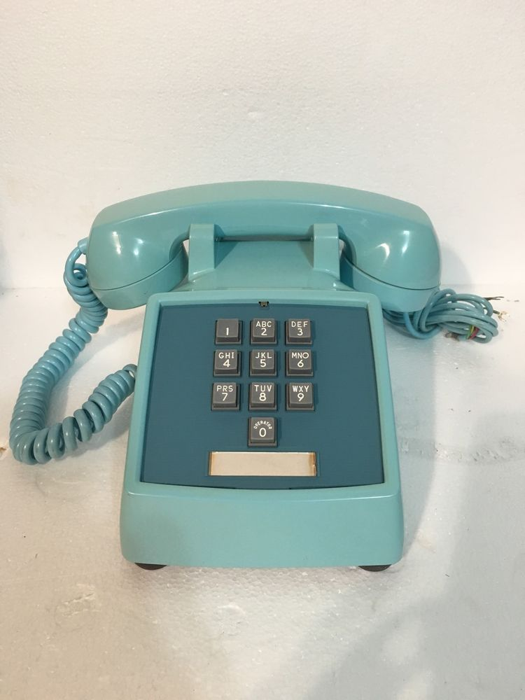 Antique Western Electric 1966 1500D Powder Blue Push Button Telephone-Very Clean