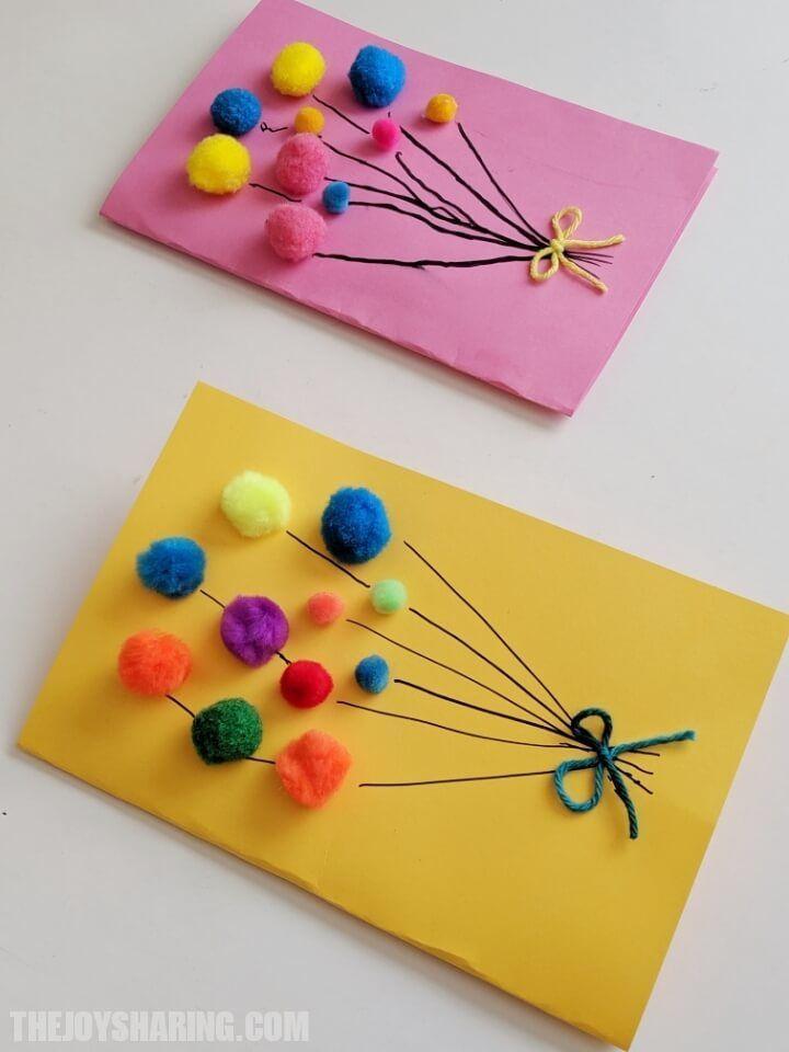Photo of Pom Pom Balloons Birthday Card, #on #balloon #birthdaycard #birthdays #birthday …