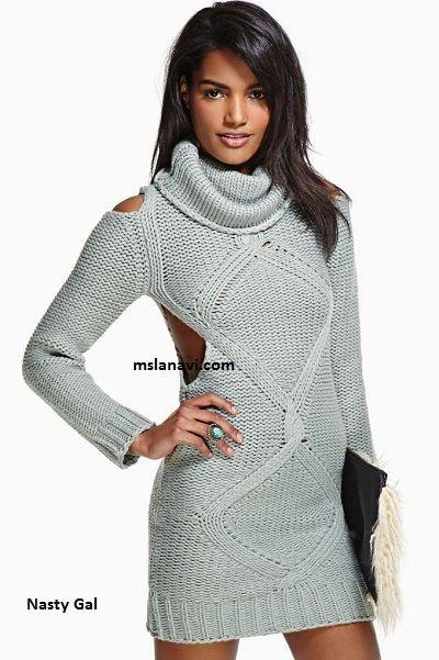 5c7358c0bd68ff8 Теплое вязаное платье спицами от Nasty Gal | вязанные платья и ...