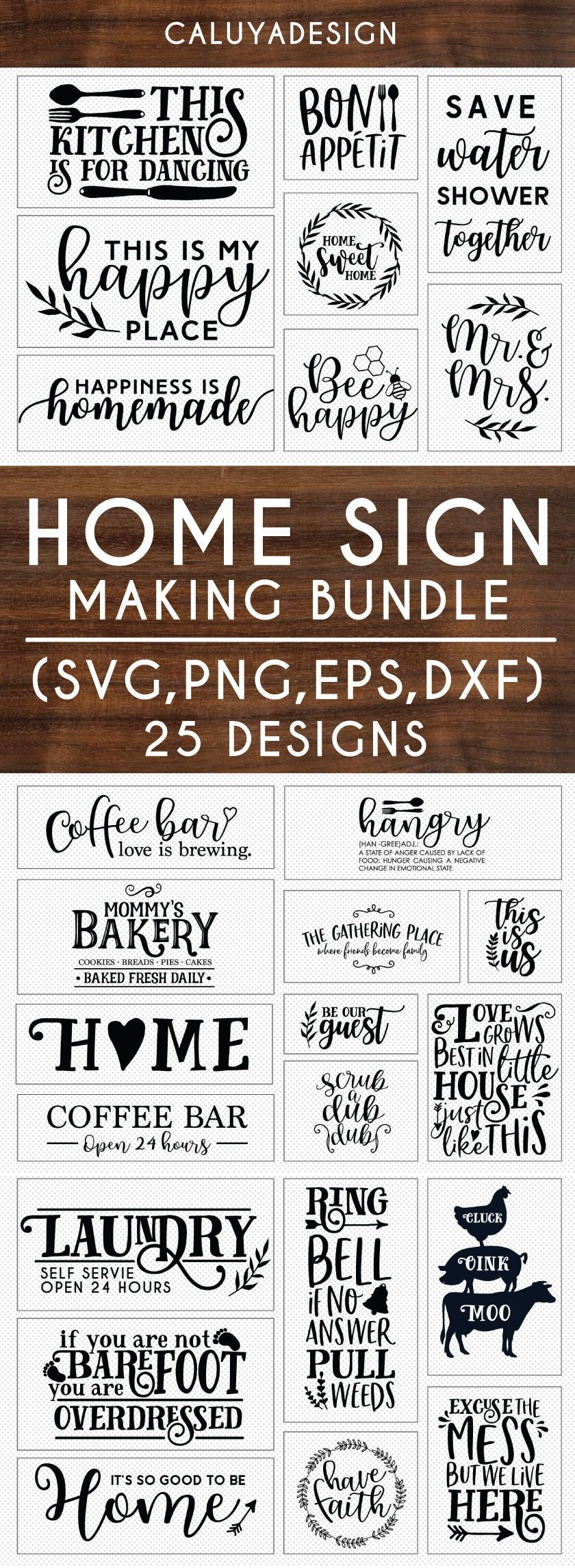 Home Sign Making SVG Cut File Bundle Deal | Cut File for Cricut & Cameo Silhouette | Quote DXF Cut File | Kitchen Home Sign Making Cut File