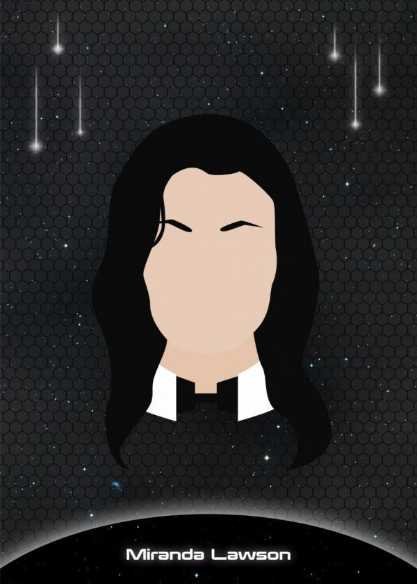"Mass Effect Minimalist Character Faces Miranda Lawson #Displate artwork by artist ""Raymond Diaz"". Part… | Displate thumbnail"