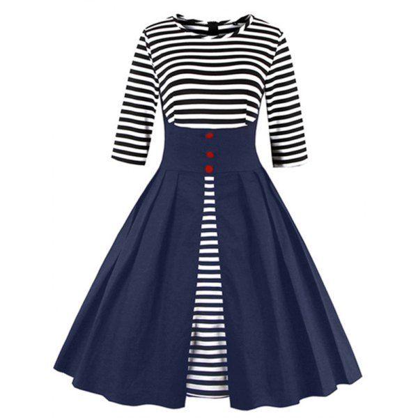 45cebf5d10f High Waist Striped Button Embellished Dress (BLUE