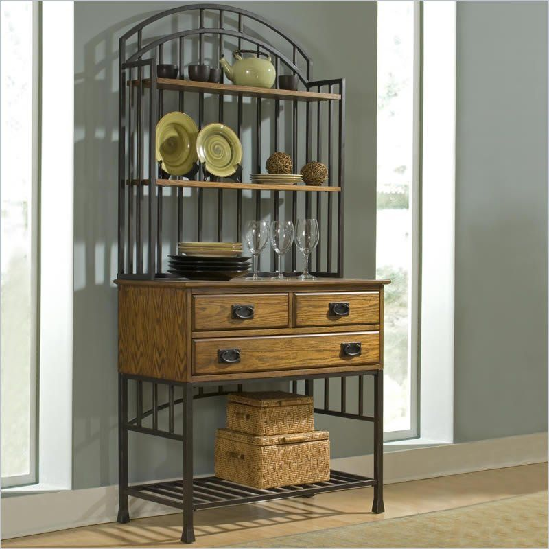 Home Styles Oak Hill Bakers Rack With Hutch, Distressed Oak Finish The Oak  Hill Bakers Rack With Hutch Is Made Of Hardwood Solids And Oak Veneer With