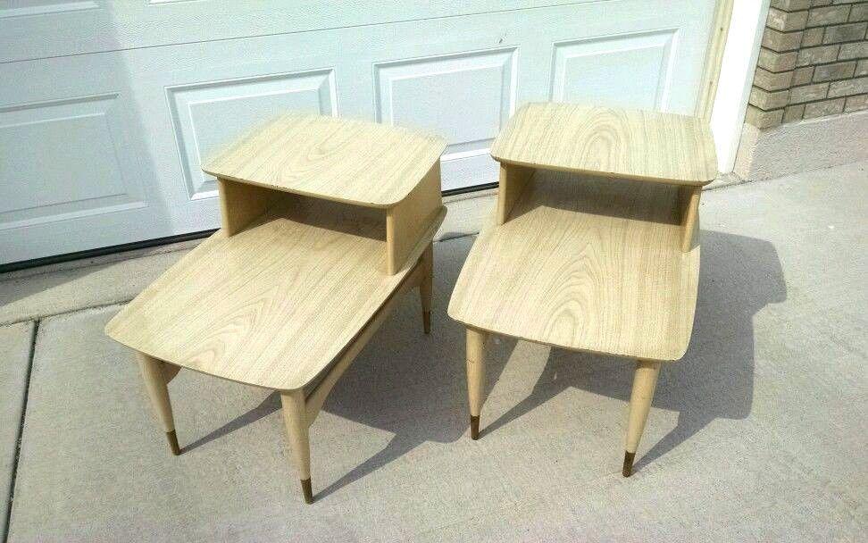 2 Blonde Laminate 2-Tier Step Side End Table Mad Men Era Vtg Mid Century Modern #MidCenturyModern #Ermine